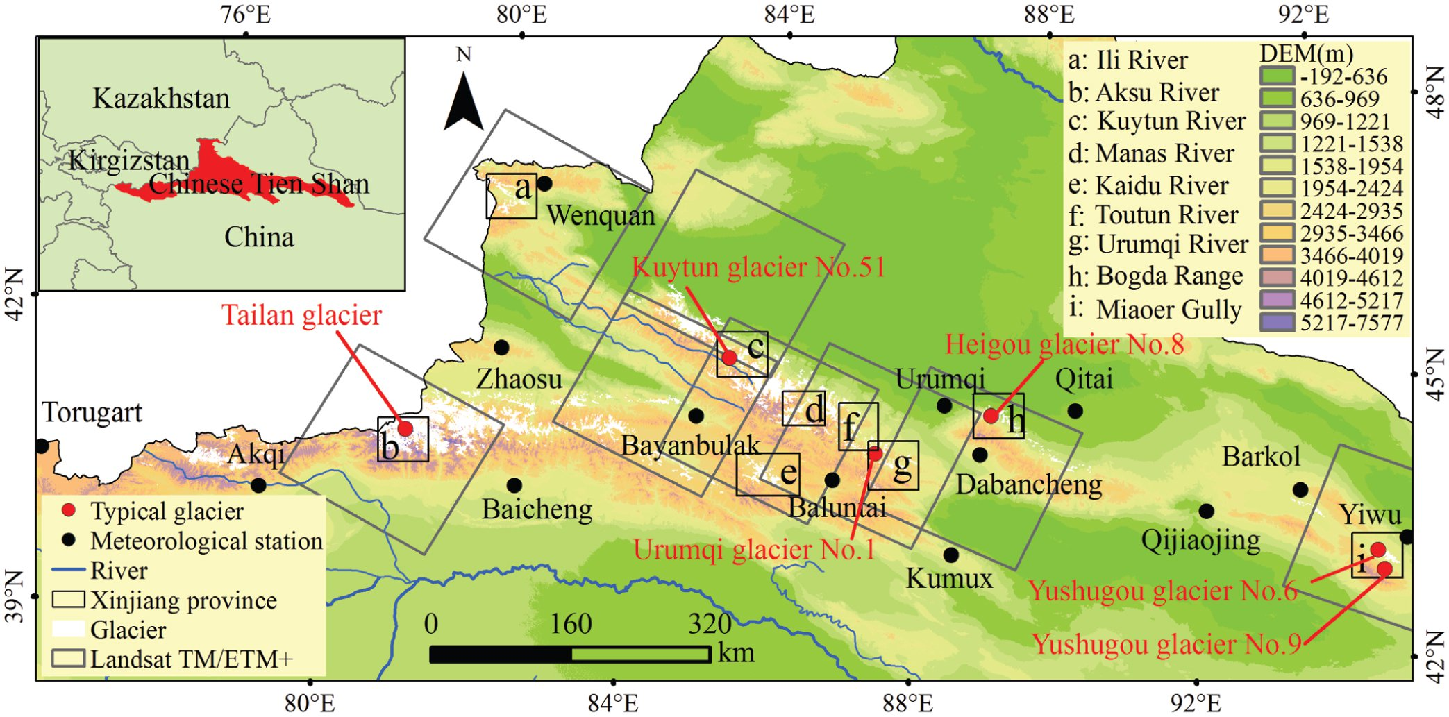 Glacier Shrinkage In The Chinese Tien Shan Mountains From 1959 1972 To 2010 2012