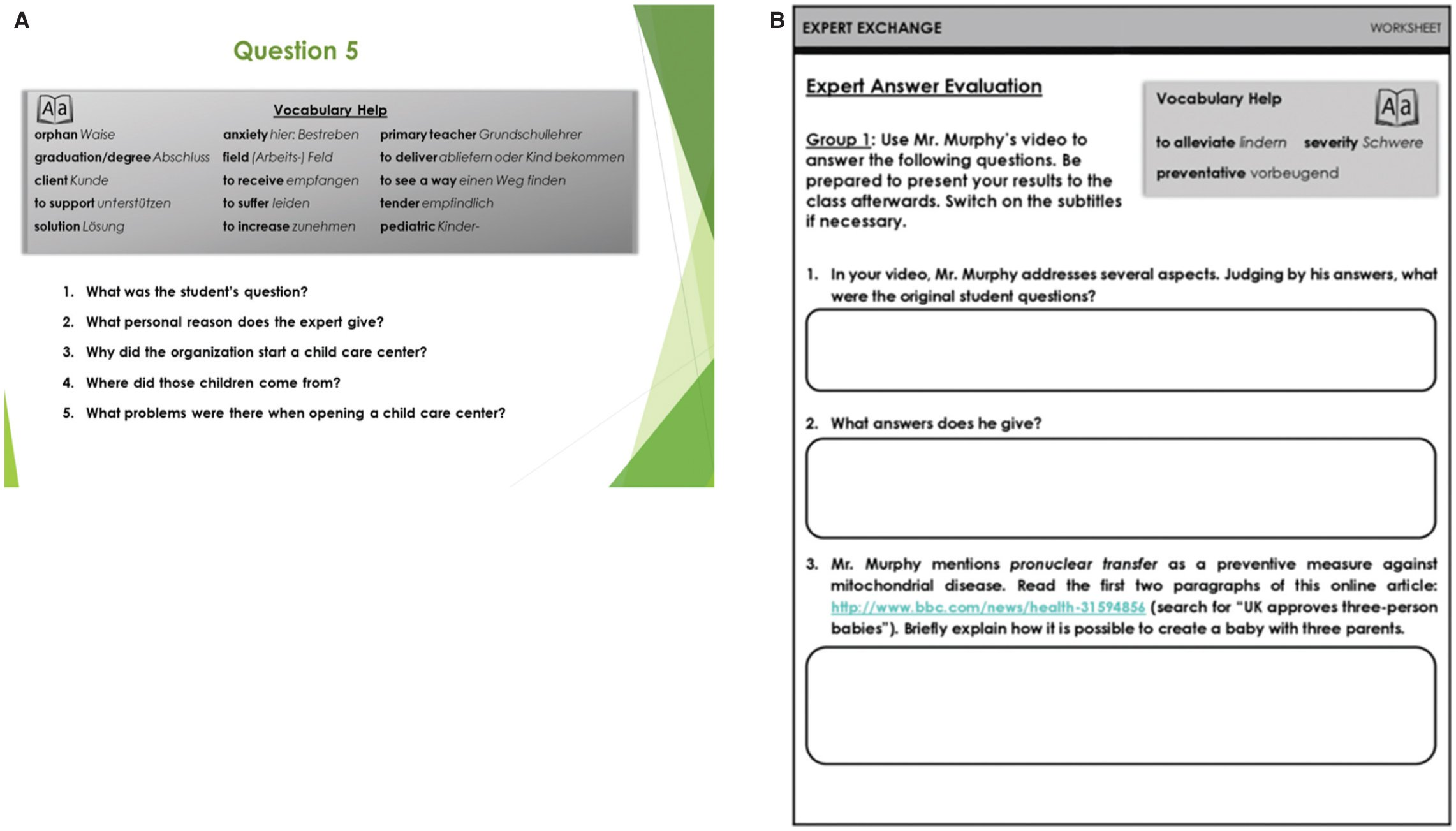Sample Of Materials For The Evaluation Experts Video Answers A Example Slide Method In Immunology Context B Group Worksheet
