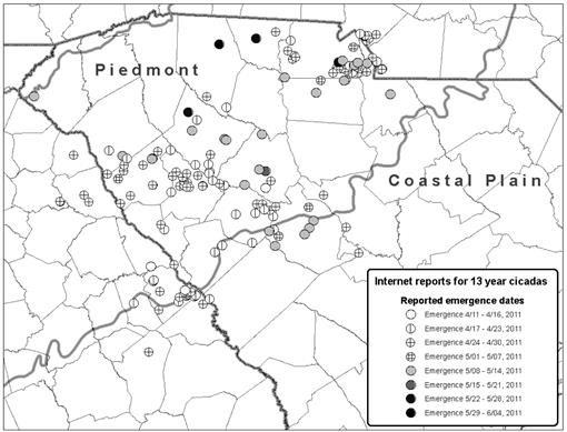 The use of Citizen Scientists to Record and Map 13-Year ... Cicada Brood Map on cicadas 2014 map, east coast cicada map, southern cicadas 2013 map, cicada emergence map, cicada cycle map, cicada map 2015, cicada in pa map, brood x brood map, 17 year locust map, cicada range map, cicada swarm map,