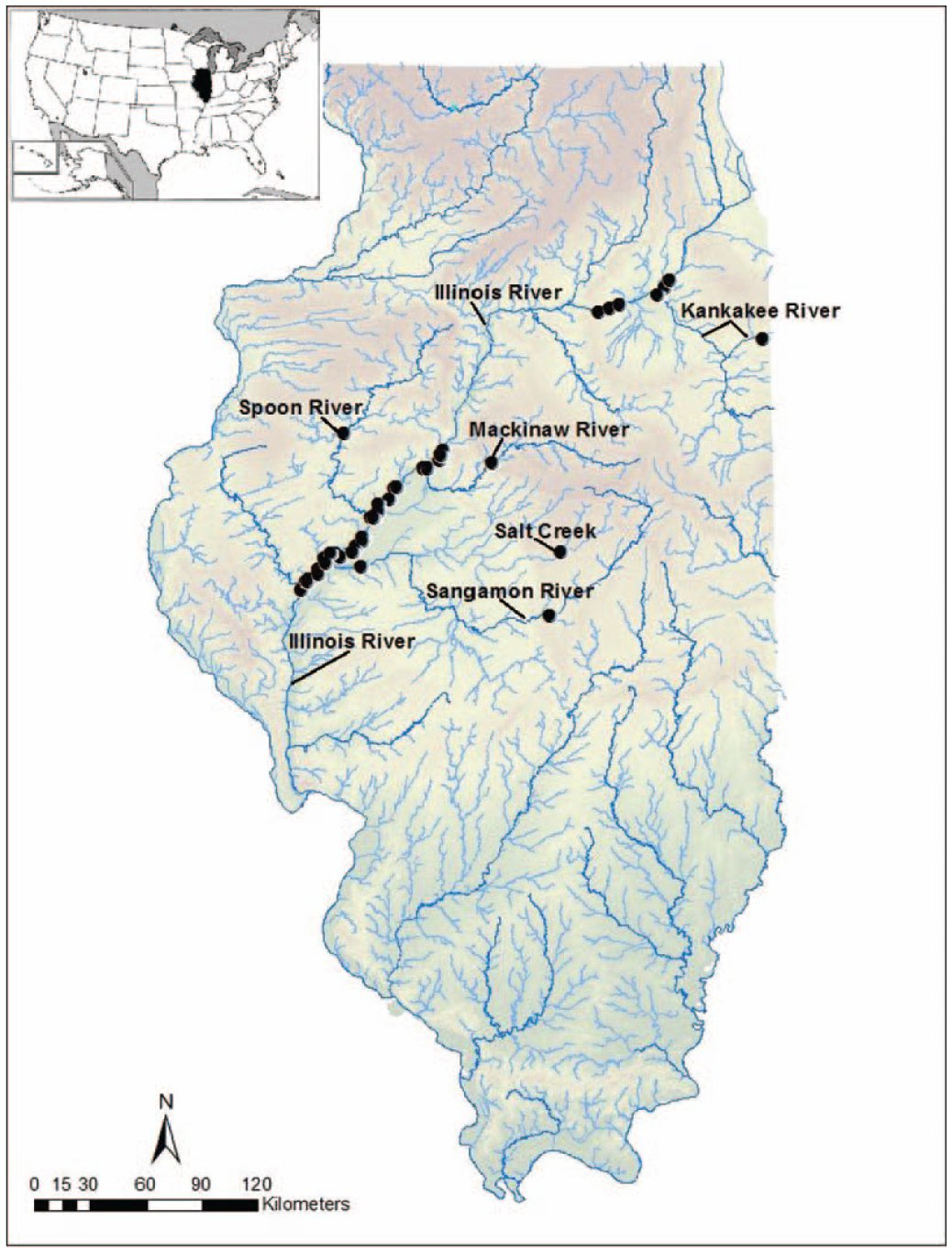 Investigation of Freshwater Mussel Glochidia Presence on Asian Carp on illinois weather map, midwest of usa, illinois street map,