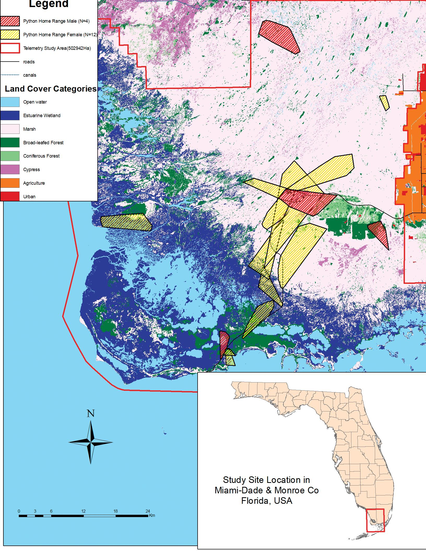 Habitat Selection by the Invasive Species Burmese Python in Southern on