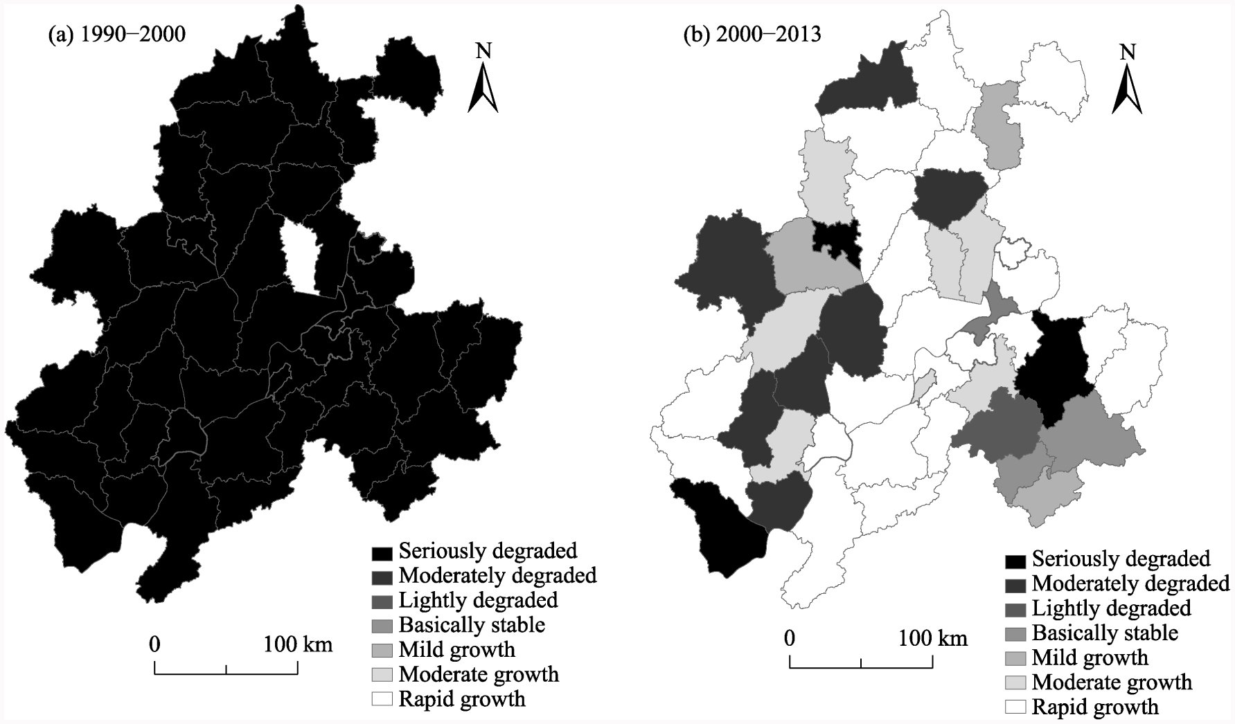 Temporal and Spatial Variations of Eco-asset Patterns and