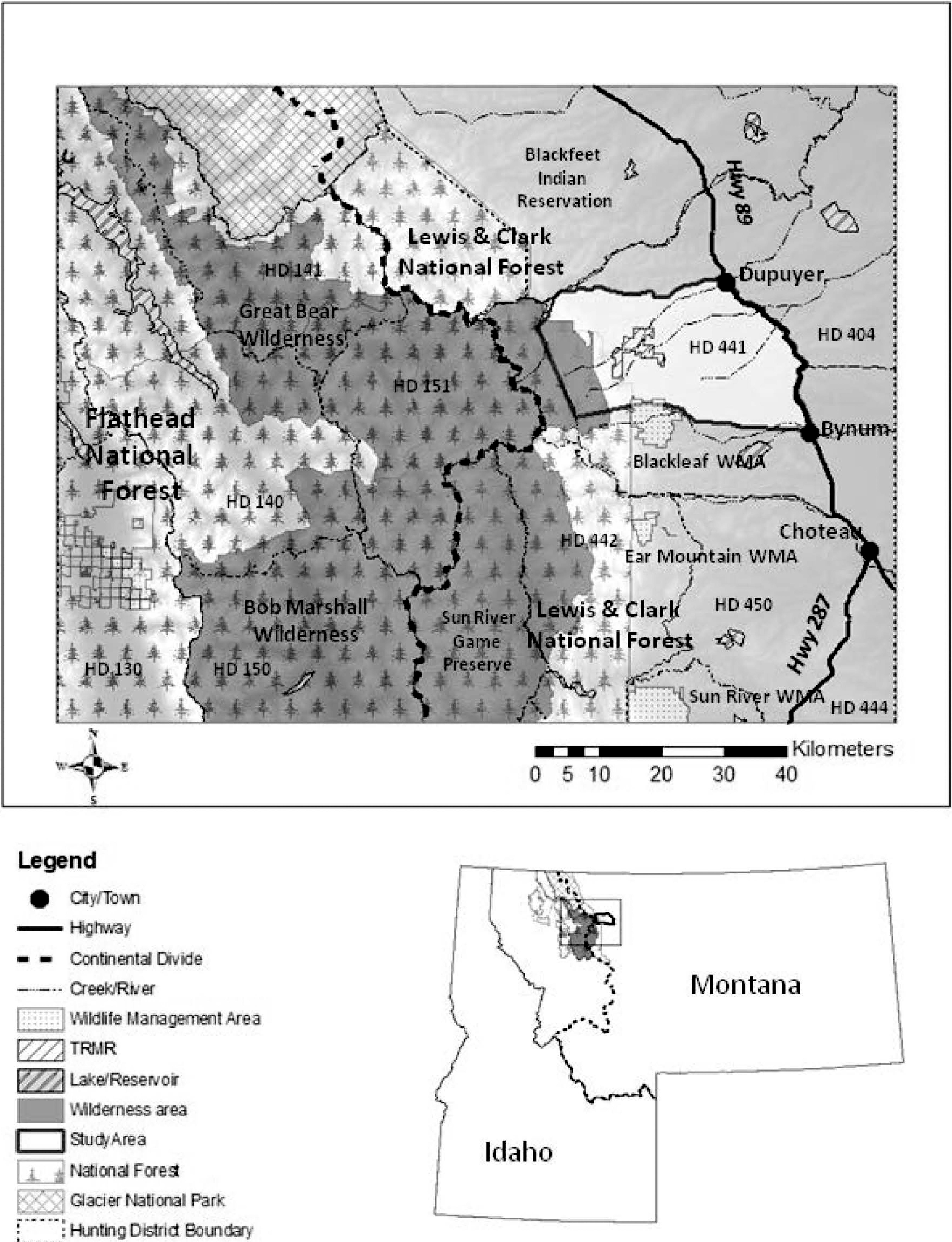 Winter Habitat use by Mule Deer in Idaho and Montana on