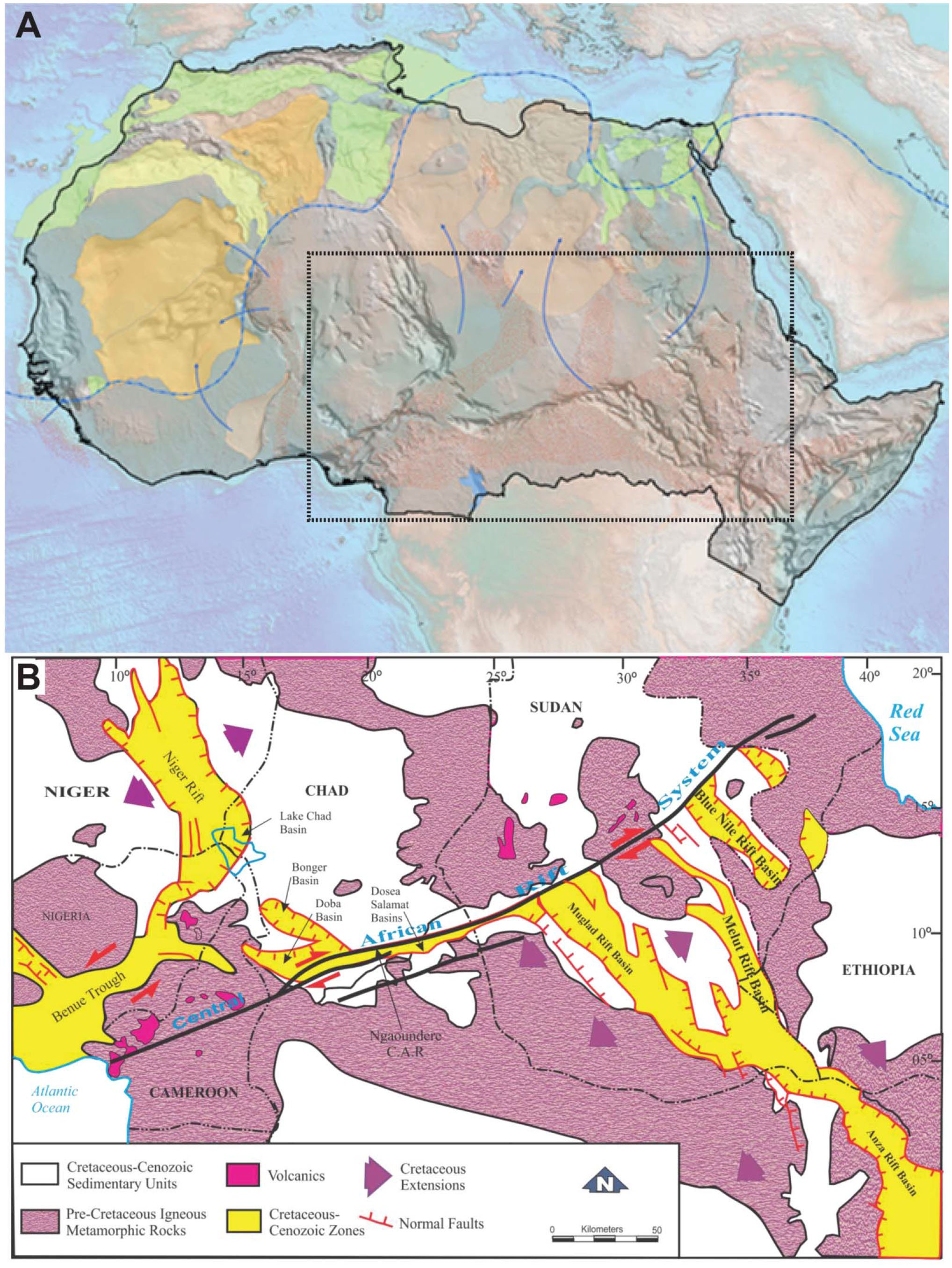 Late Cretaceous Spore-Pollen Zonation of the Central African Rift