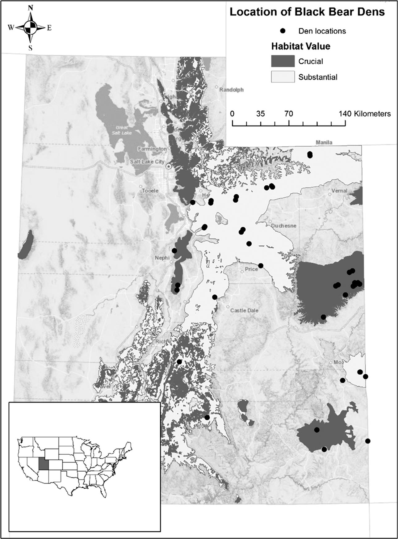 The late-denning activities of the American black bear in Utah