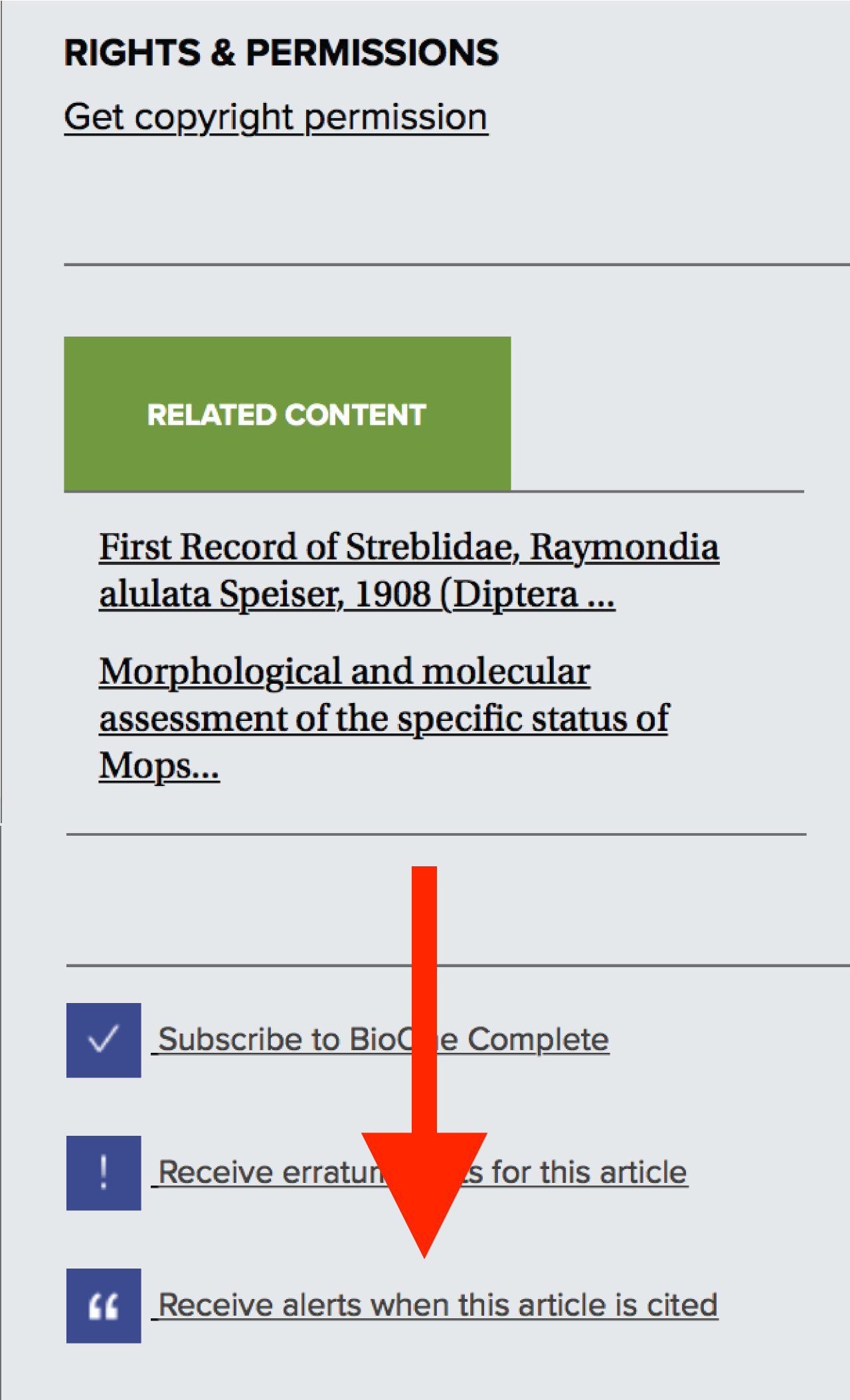 "A screenshot of the right sidebar on an article's page. A red arrow points to a link reading ""Receive alert when this article is cited."""