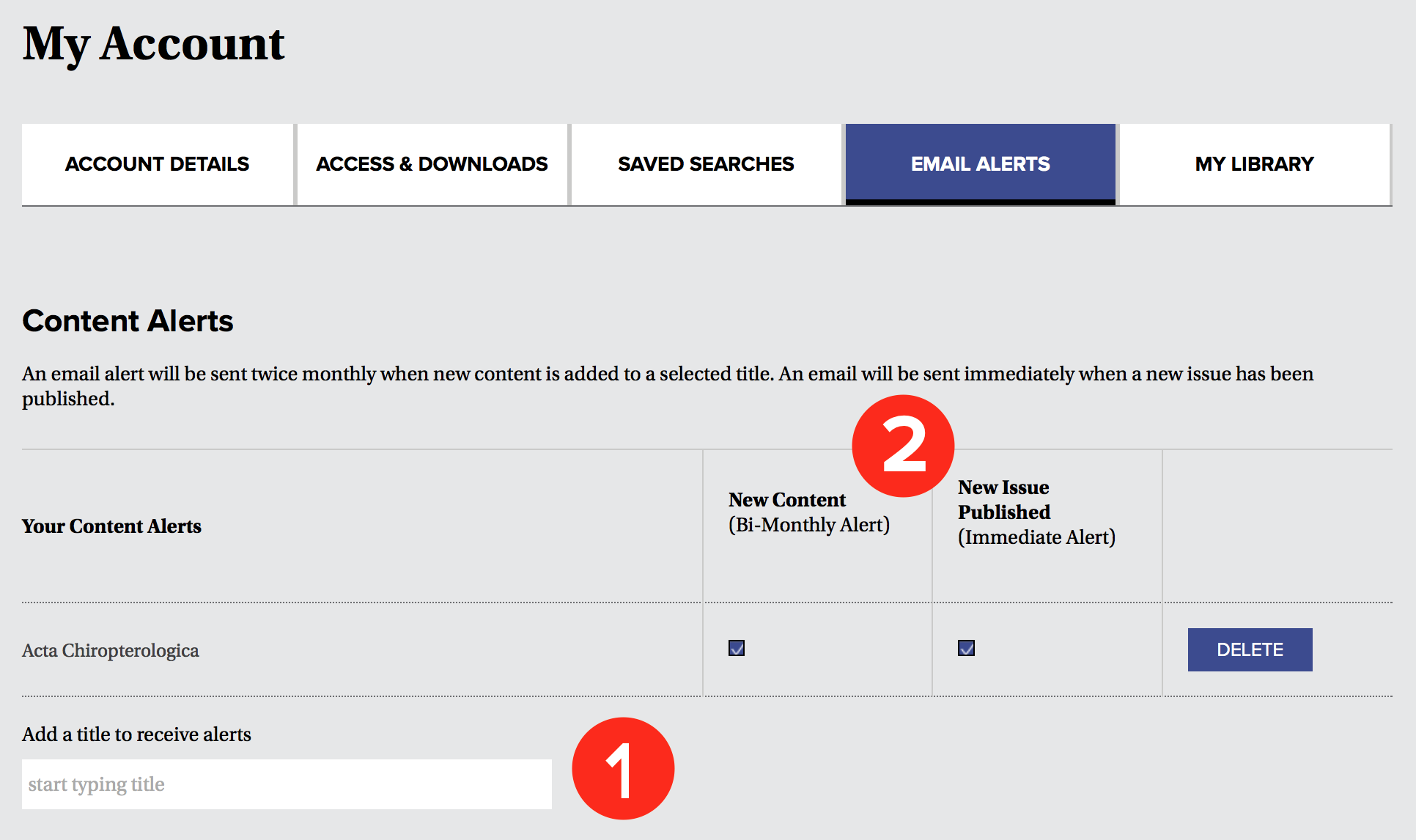 A screenshot of the Content Alert portion of the Email Alert tab. A number 1 indicates the field to enter journal titles, and a number 2 indicates the alert frequency options.