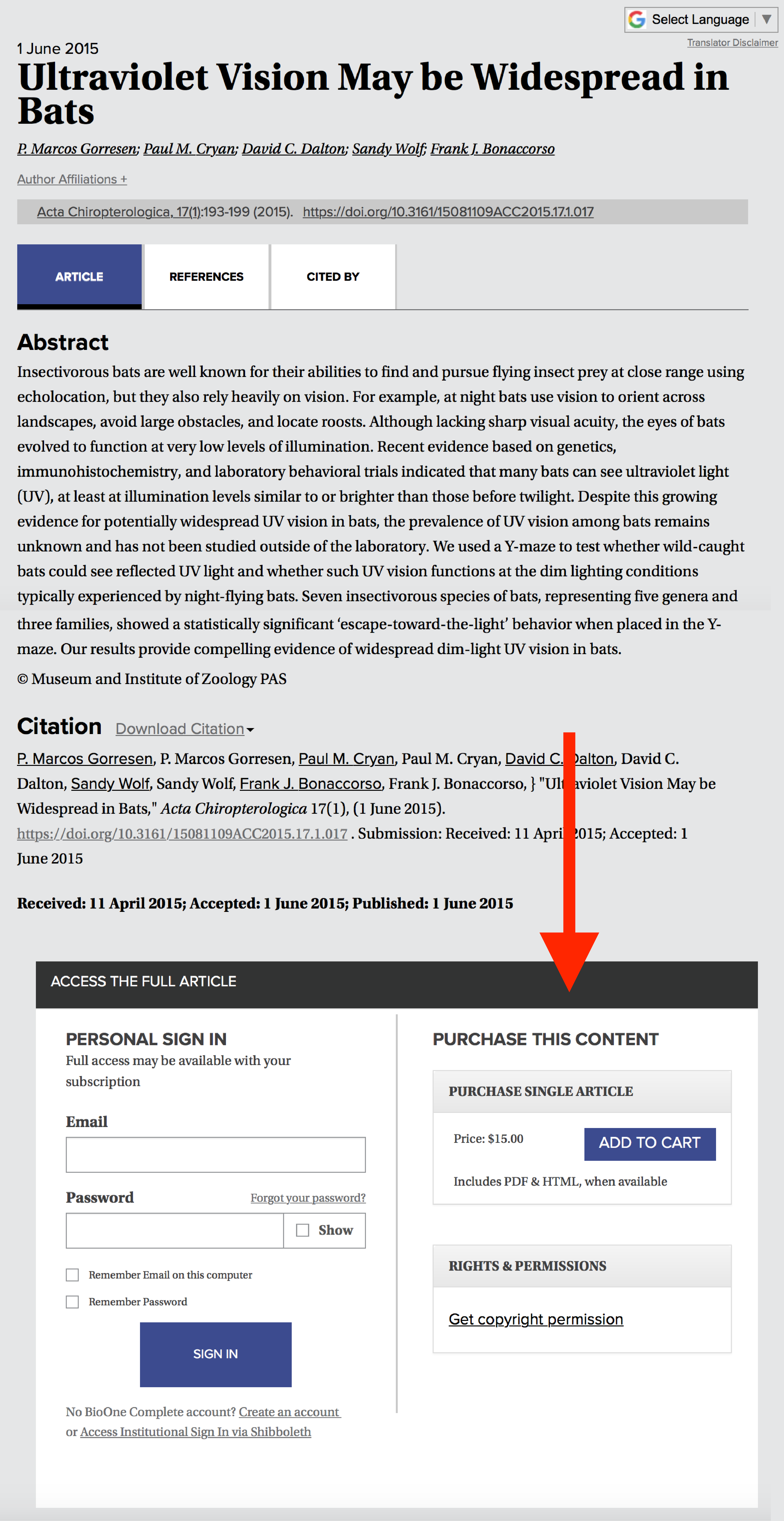 A screenshot of an article page with a red arrow indicating the Purchase Article option.