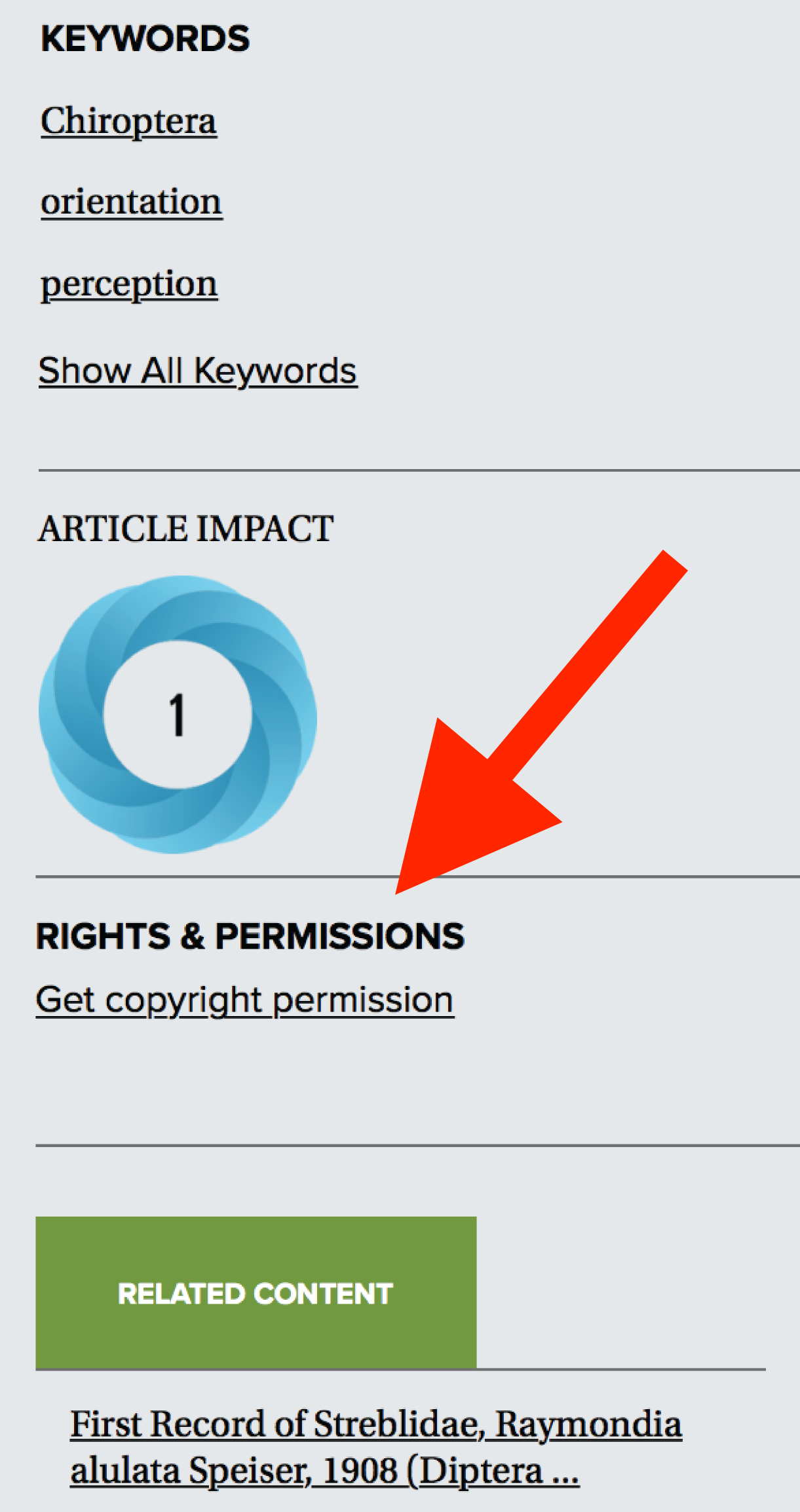 A screenshot of the right sidebar on an article's page, with a red arrow pointing to the Rights and Permissions section.