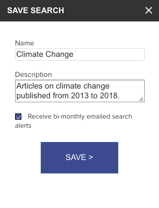 A screenshot of the Save Search pop-up, with fields to name and describe the search. There is a checkbox at the bottom to sign up for bi-monthly email alerts.