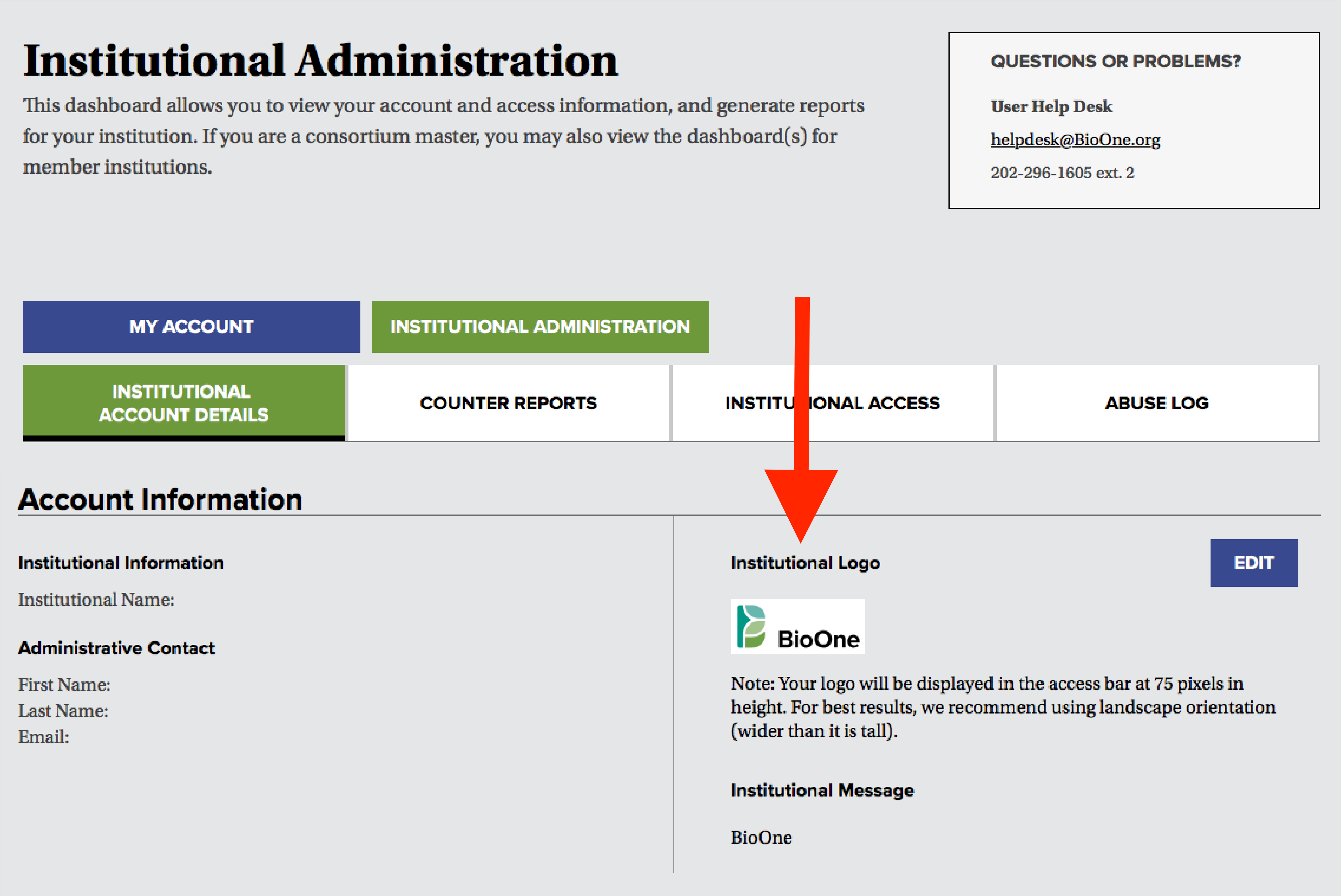 A screenshot of the institutional administration dashboard, with a red arrow pointing to the Institutional Logo section.