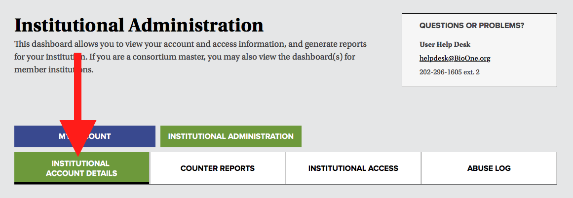 A screenshot of the institutional administration dashboard's navigational tabs, with a red arrow pointing to the tab labeled Institutional Account Details.