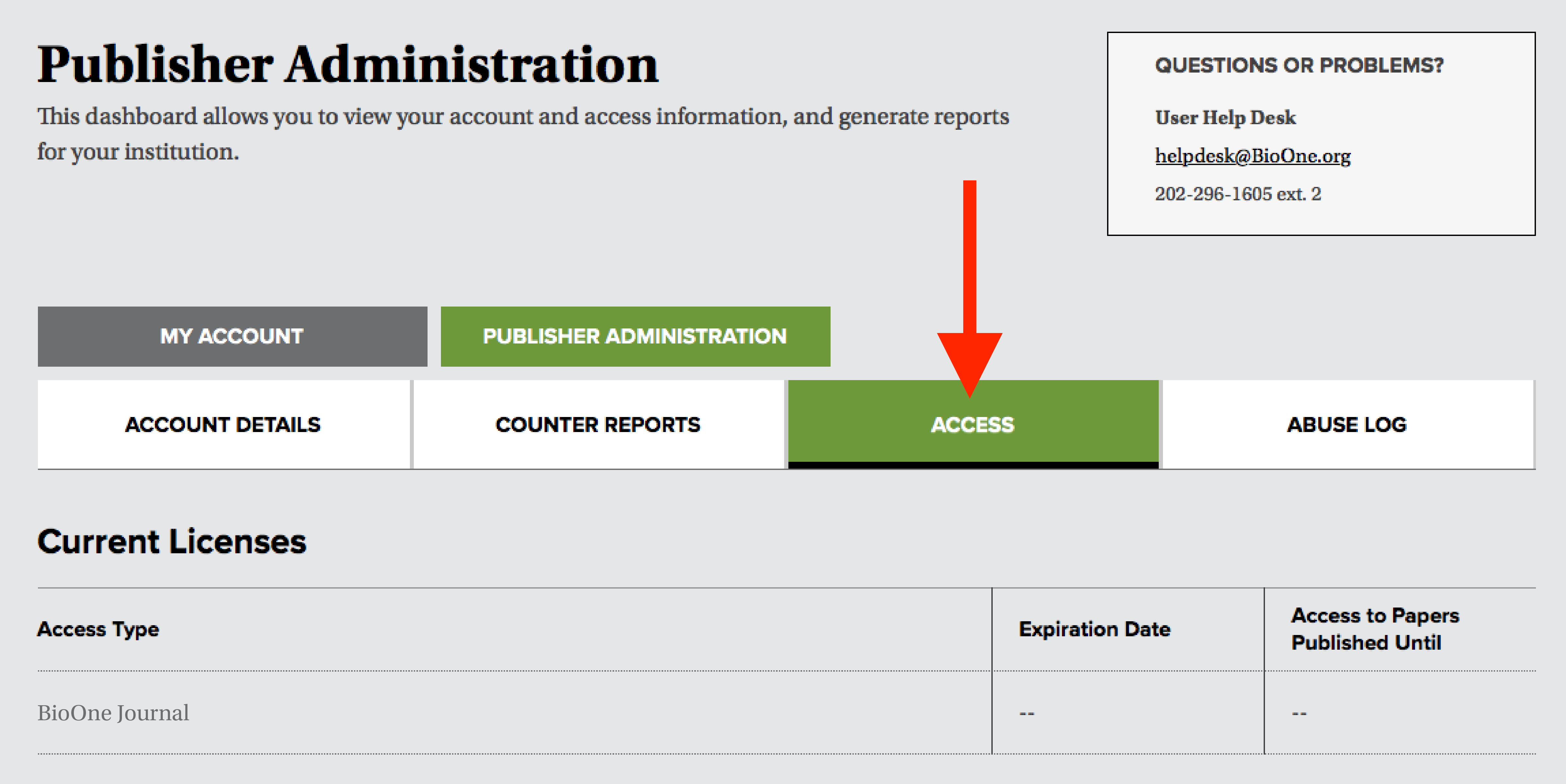 "A screenshot of the publish administration dashboard, with a red arrow pointing to a tab titled ""Access""."